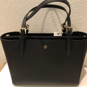 100% Authentic Tory Burch Emerson Black small Tote